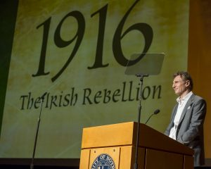 March 3, 2016; Liam Neeson, narrator of the film gives opening remarks at the Gala Premiere of the documentary 1916: The Irish Rebellion in the Leighton Concert Hall at the DeBartolo Performing Arts Center in Notre Dame, IN. The Keough-≠?Naughton Institute for Irish Studies produced the documentary television series in association with COCO Television Productions, Limited. The documentary examines the events and aftermath of the Easter Rising. (Photo by Barbara Johnston/University of Notre Dame)