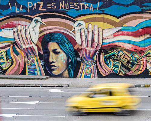 "Graffiti in Bogota Colombia, translates to: ""Peace is Ours."""