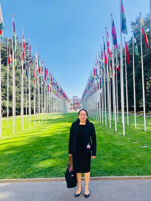 Desierto stands in front of UN headquarters in Geneva