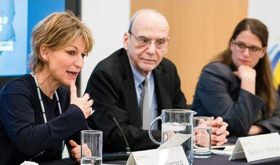 Agnes Callamard speaks to a panel of experts in Washington, DC
