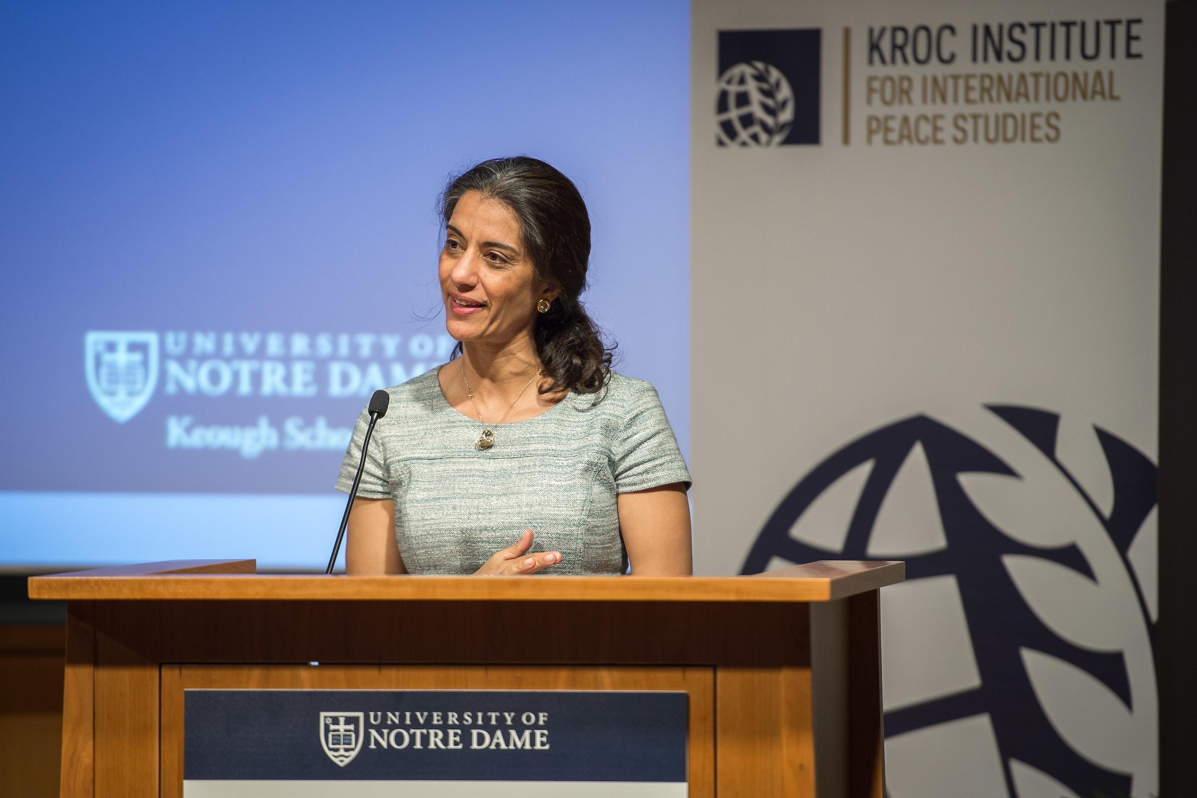 Sanam Naraghi-Anderlinin speaks at the podium