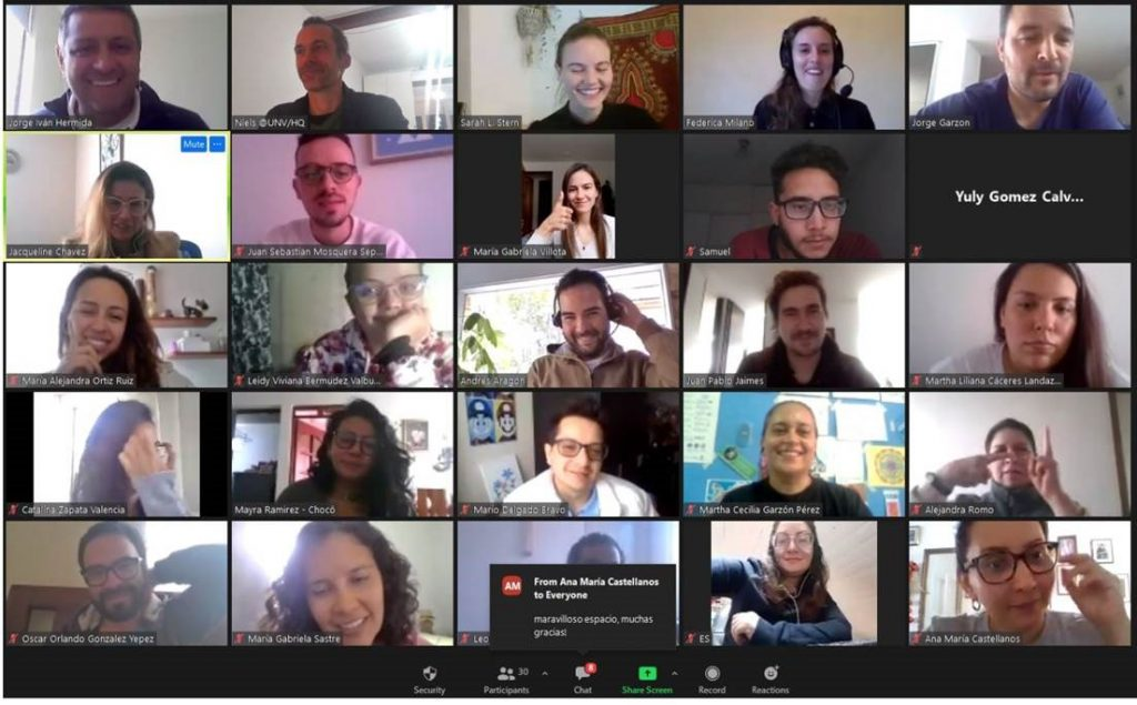 Individuals on a Zoom video call; smiling, laughing and gestering.