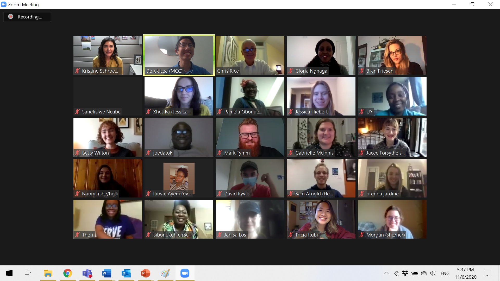 A screen shot of meeting participants in a Zoom presentation by MGA alumnus Derek Lee.