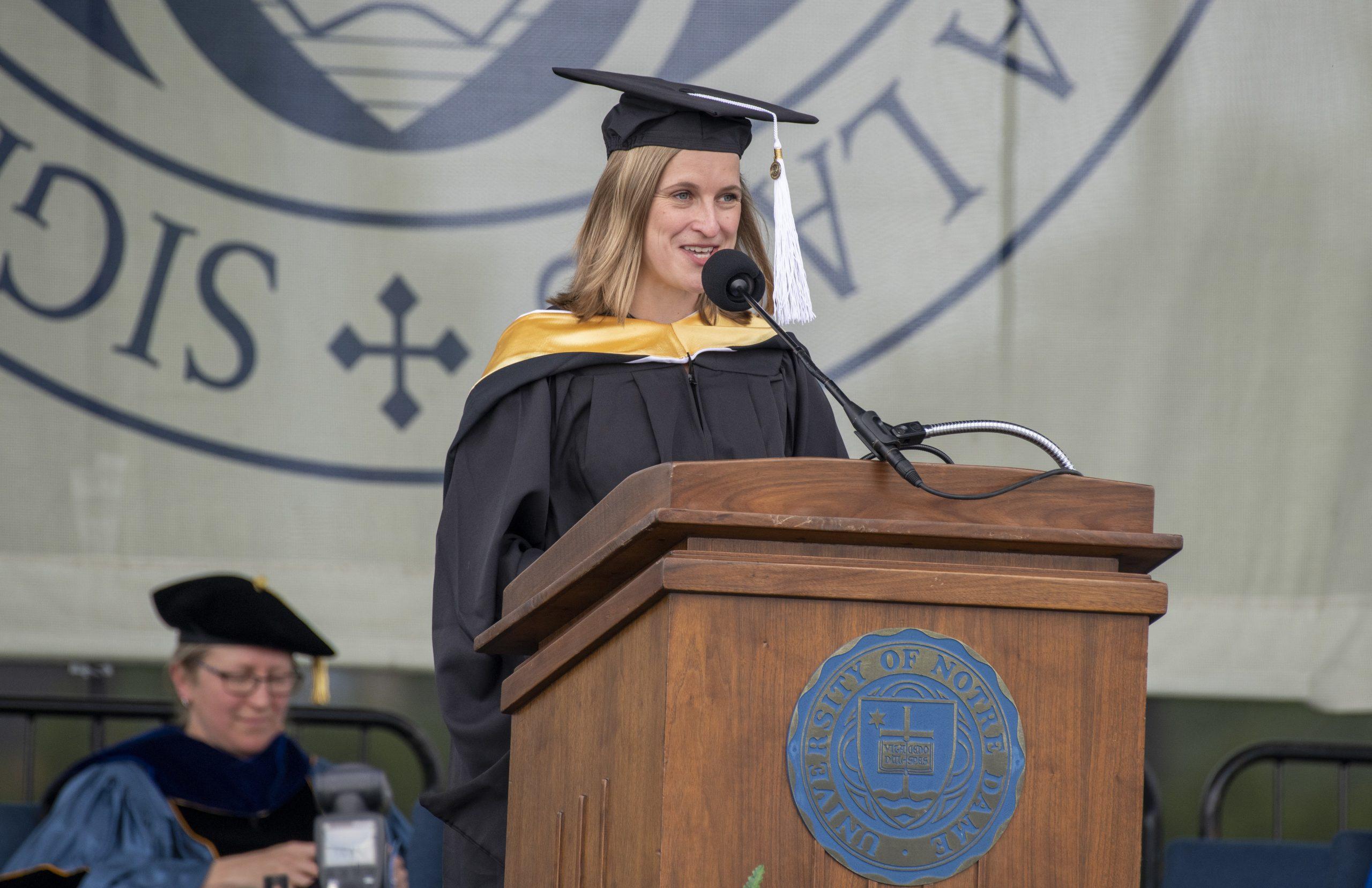Becca Méndez, associate director of the master of global affairs program, addresses the graduates.