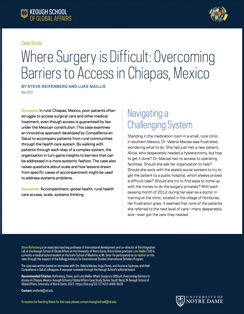Cover image: Where Surgery is Difficult: Overcoming Barriers to Access in Chiapas, Mexico