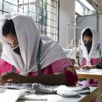 Young Bangladeshi women being trained at the Savar Export Processing Zone training center in Dhaka, Bangladesh.