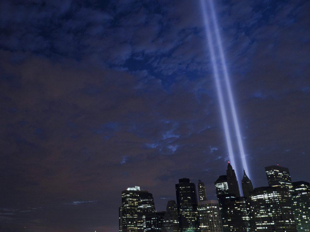 World Trade Center towers as beams of light