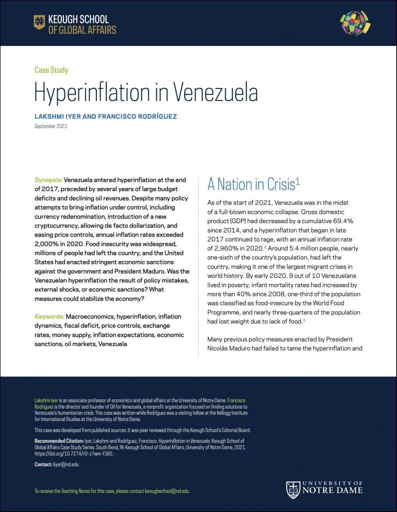 Cover image: Hyperinflation in Venezuela